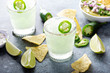 canvas print picture Salted rim spicy iced margarita with jalapeno, limes and chips