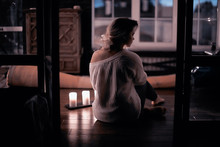 Romance Adult Girl Candles / Sexy Model In A Romantic Interior Lonely Waiting