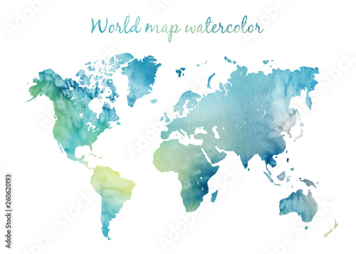 Watercolor world map in vector on wight background. Illustration in vector