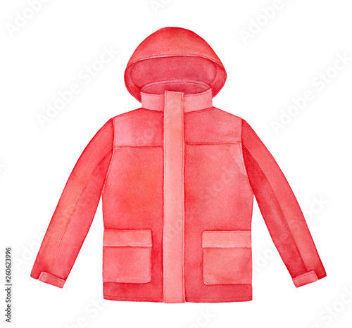 Carta da parati Bright red hooded jacket watercolour illustration