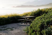 Rincon Beach In Carpinteria, California At Dusk