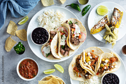 Fotografie, Tablou Mexican street food variety with tacos, grilled corn