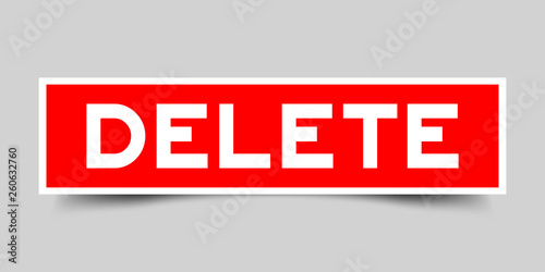 Cuadros en Lienzo Label sticker in red color square shape as word delete on white background
