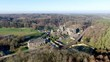 Aerial view of Villers Abbey ruins, an ancient Cistercian abbey located near the town of Villers-la-Ville in the Brabant province of Wallonia, Belgium