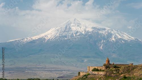 Ararat , Armenia - Jun 15 2018- Mount Ararat view from Khor Virap Canvas Print