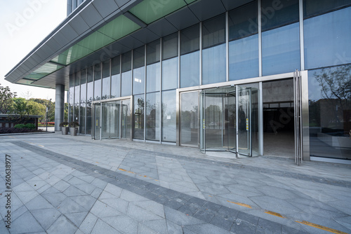 Poster Stadion modern business office building exterior