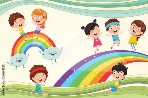 In de dag Regenboog Vector Illustration Of Rainbow Children