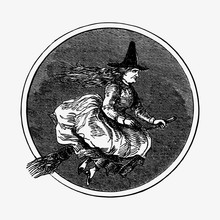 Drawing Of A Witch Riding A Br...