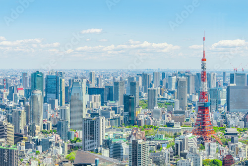 春の東京風景 Tokyo city skyline , Japan Wallpaper Mural