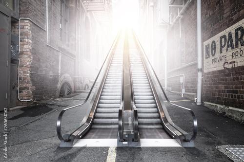 Obraz na plátně Modern double escalator in a city