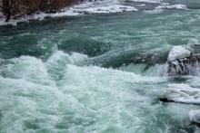 Rapid Icy Water At Winter Niagara Falls