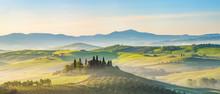 Beautiful Foggy Landscape In Tuscany, Italy