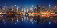 Panoramic View On Manhattan At Night, New York, USA