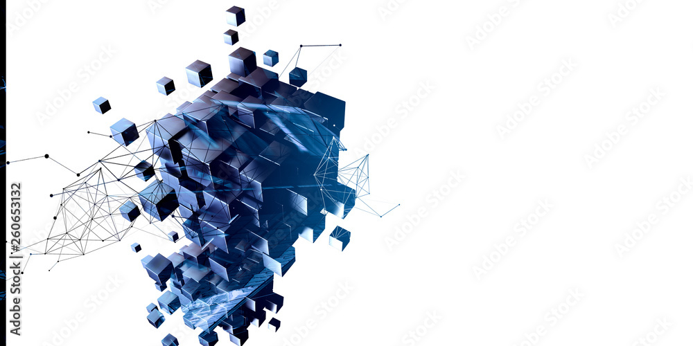 Fototapeta Blue abstract cubes and network diagram