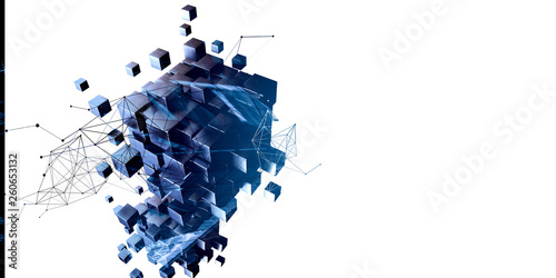 Obraz Blue abstract cubes and network diagram - fototapety do salonu