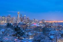 Skyline Of Seattle In Winter