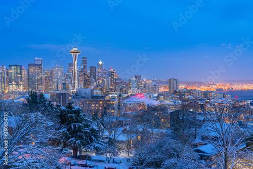 skyline of seattle in winter #260654718
