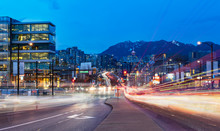 Light Trails Go Out Of The Downtown Vancouver
