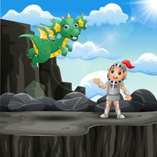 Cartoon Knight And A Dragon At...