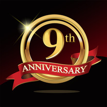 9 Golden Anniversary Logo. With Ring And Ribbon.