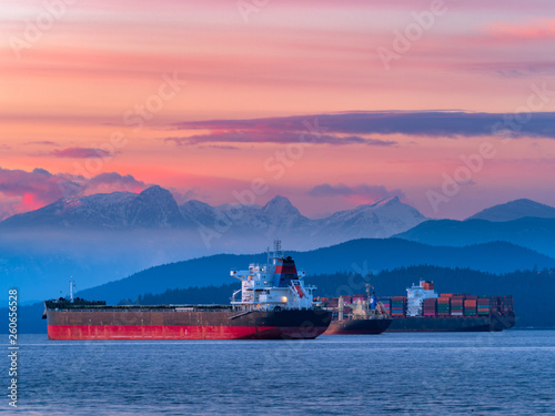 freighters stop at sunset