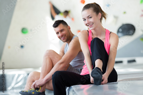 couple preparing to wall climb