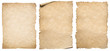canvas print picture Vintage paper or parchment set isolated on white