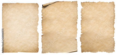 Photo sur Toile Retro Vintage paper or parchment set isolated on white