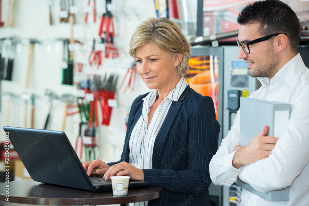 Fototapeta manager and rep looking at laptop
