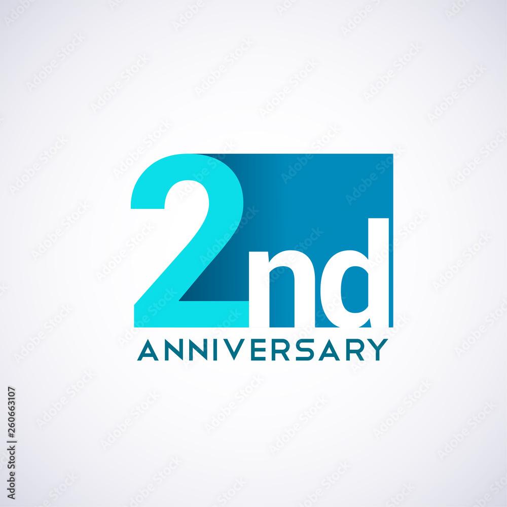 Fototapeta Template Logo 2 anniversary blue colored vector design for birthday celebration.