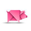 Świnia origami. Logo wektor