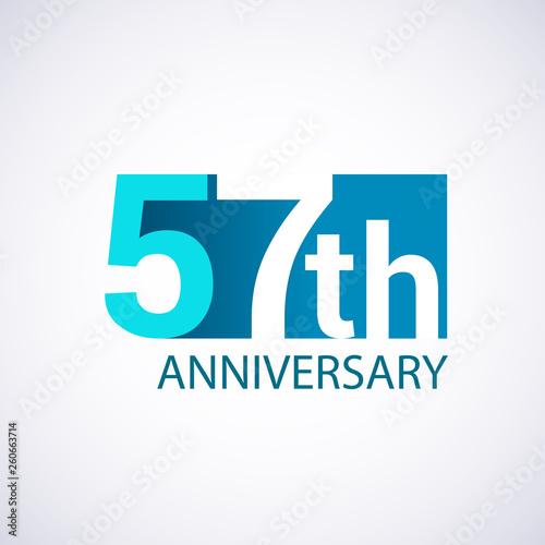 Template Logo 57 anniversary blue colored vector design for birthday celebration Wallpaper Mural
