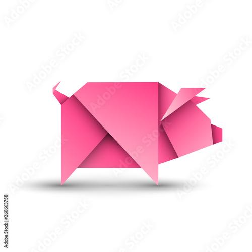 Fototapeta Świnia origami. Logo wektor obraz