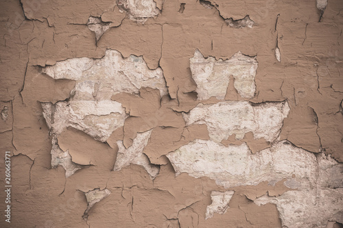 Fotografía  Cracked light brown wall texture background