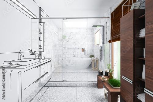 Stickers pour porte Pierre, Sable Modern Bathroom Integration (outline) - 3d visualization