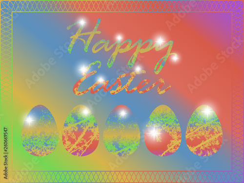 Fotografia  Bright greeting card on happy Easter day
