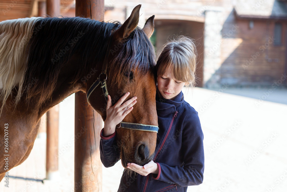Fototapety, obrazy: Girl and horse