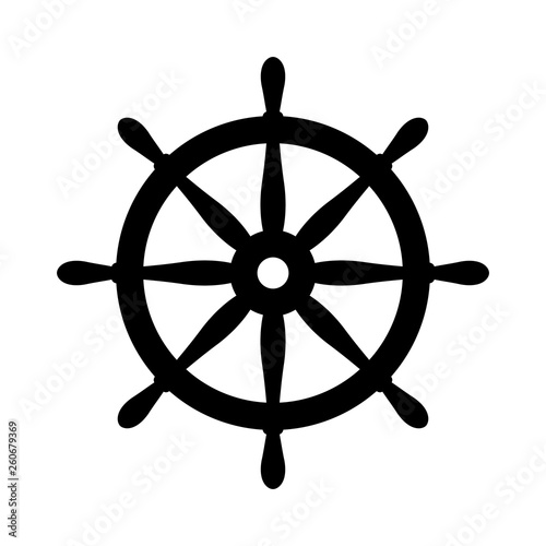 Nautical black helm isolated on white Canvas Print