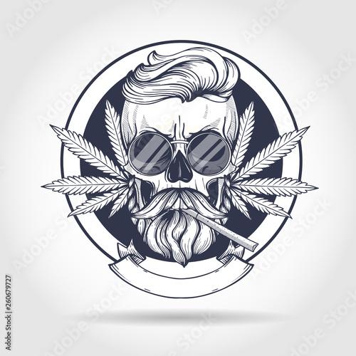 Sketch, skull rastaman. Canvas Print