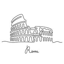 Rome, Coliseum Continuous Line...