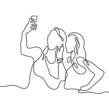 Girls Making Selfie Continuous Line Vector Illustration