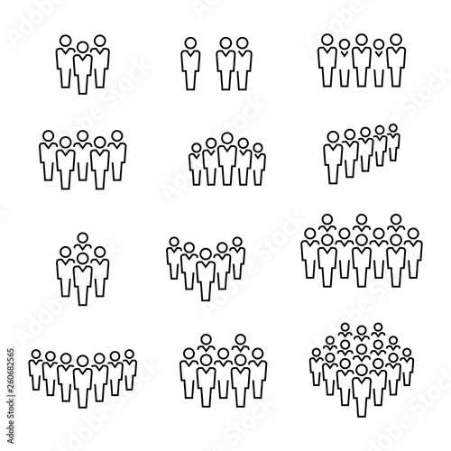 Photo  People group vector icon set