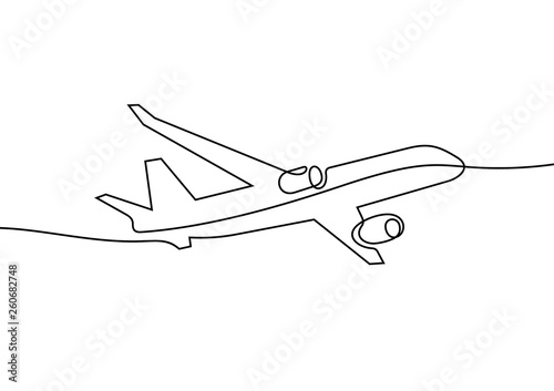 Plane continuous line vector illustration - fototapety na wymiar