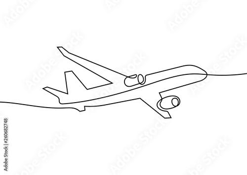Obraz Plane continuous line vector illustration - fototapety do salonu