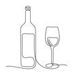 Wine continuous line vector illustration