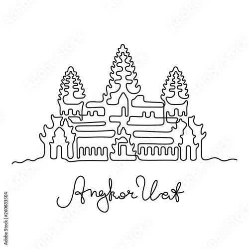 Angkor Wat, Cambodia continuous line vector illustration Wallpaper Mural