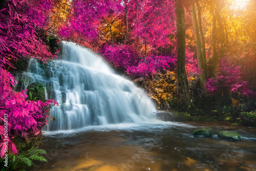 Foto op Plexiglas Aubergine Amazing in nature, beautiful waterfall at colorful autumn forest in fall season