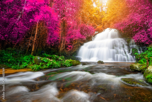 Door stickers Forest river Amazing in nature, beautiful waterfall at colorful autumn forest in fall season