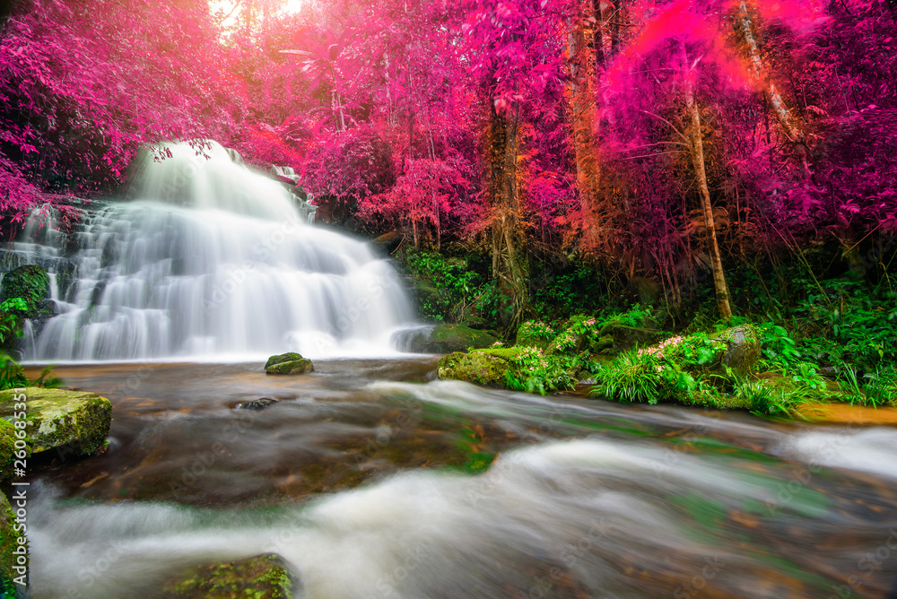 Autumn Waterfall Canvas Pictures Colourful Forest Landscape Large Poster