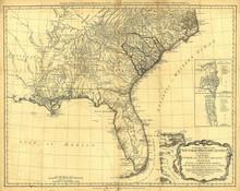 Retro Us Map. Engraving
